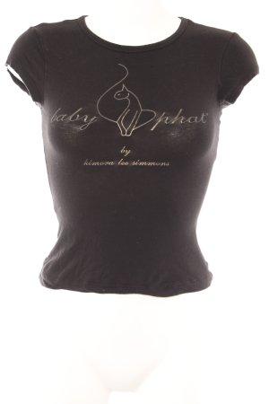 Baby Phat T-shirt nero caratteri stampati stile casual