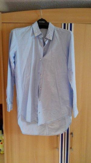 Babyblaue Himmelblaue Zara Bluse Hemd mit Perlen Kragen Größe 34/36 xs/s