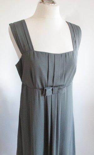 Babydoll Chiffon Kleid H&M Größe L 40 Grau Schleife Tunika Trägerkleid Empire