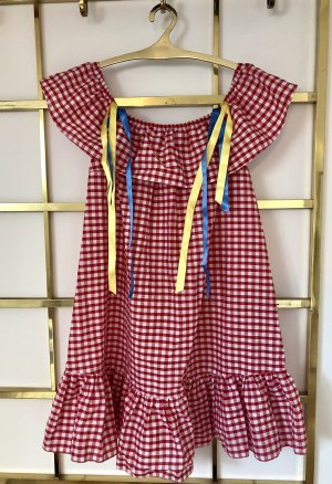 Reclaimed Vintage Babydoll-jurk wit-rood