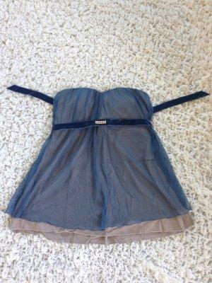 Backless Top beige-cornflower blue