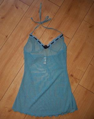 baci Lingerie Negligee Dessous Sexy Nachtkleid Nachthemd Neckholder Schlaf Blau One Size XS / S