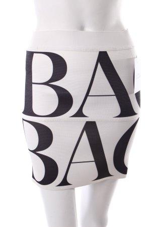Back Bleistiftrock weiß-schwarz Schriftzug gedruckt Urban-Look