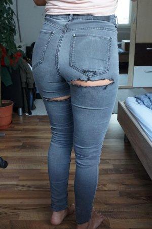 Back Ripped Jeans grau
