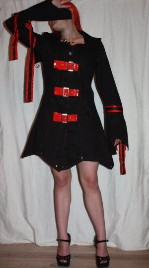 Manteau à capuche noir-orange fluo coton
