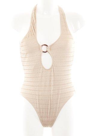 Badeanzug beige-dunkelbraun Beach-Look