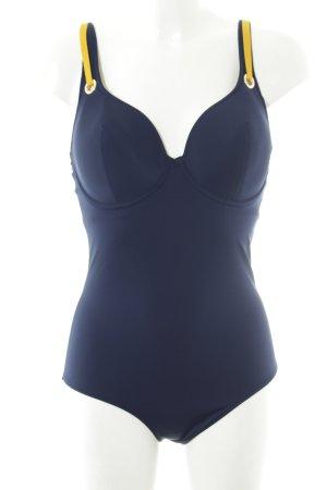 Badeanzug dunkelblau-dunkelgelb schlichter Stil