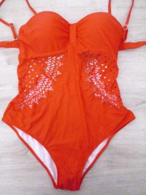 Maillot de bain rouge tissu mixte