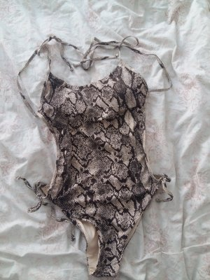 H&M Swimsuit grey brown-oatmeal