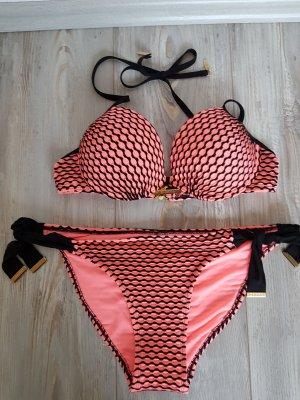Vêtement de bain noir-rose