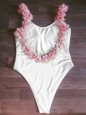 Badeanzug lareveche weiß rosa 3D Blumen Blogger