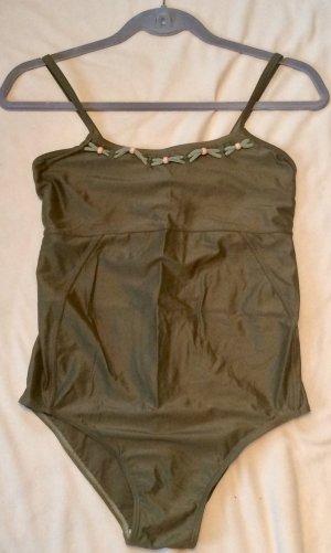 Zwempak abrikoos-olijfgroen Polyester