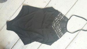 Badeanzug / Monokini   schwarz Neckholder mit Spitze