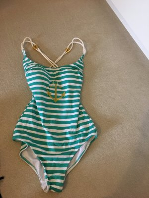 Badeanzug neu in grün weiß