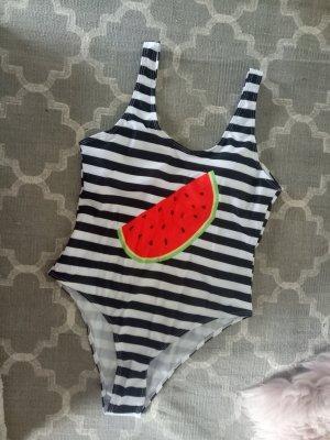 Badeanzug stripes Streifen schwarz weiß Melone Wassermelone L 40