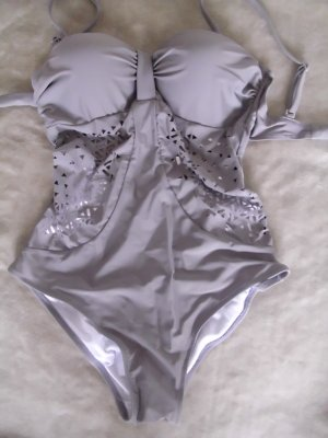Badeanzug / Swimsuit in grau Größe L = 40