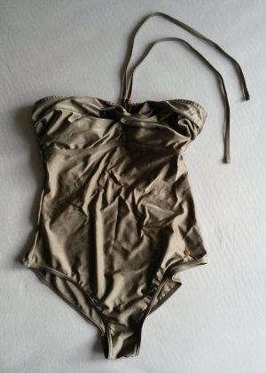 Badeanzug/Swimsuit von Esprit in khaki, Gr. 42 mit Neckholder