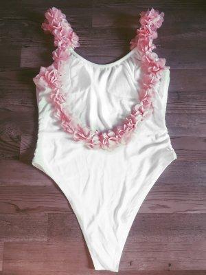 Badeanzug weiß mit 3D Blumen rosa neu lareveche Sommer Blogger