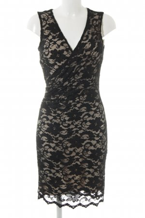 Badgley Mischka Lace Dress black-oatmeal flower pattern elegant