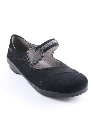 Bär Schlüpfschuhe schwarz-grau Romantik-Look