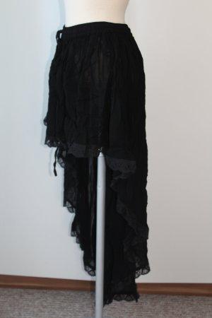 Bäres Vokuhila Rock schwarz Spitze Chiffon transparent gothic S M L 36 38 40 free Size