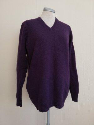 Bäumler Pullover Pulli Lammwolle Gr. S 36 38 Nylon lila V- Ausschnitt Winterpullover Wollpullover