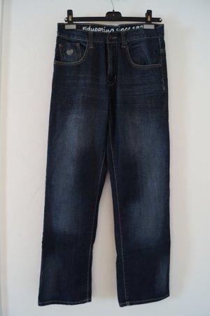 Baby Phat Baggy jeans blauw-goud Gemengd weefsel