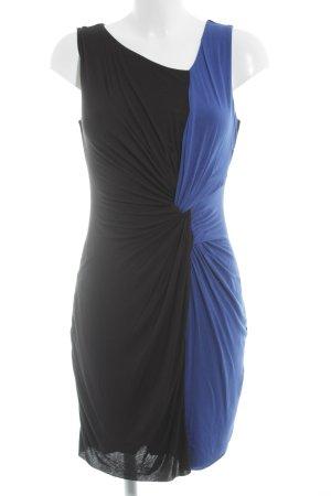 Bailey44 Vestido de tela de jersey negro-azul bloques de color estilo fiesta