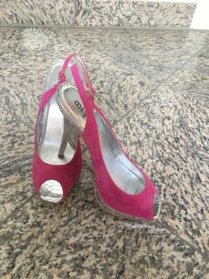 High-Heeled Sandals pink-silver-colored