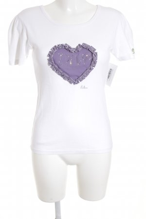 Balbina T-Shirt white-lilac embroidered lettering casual look