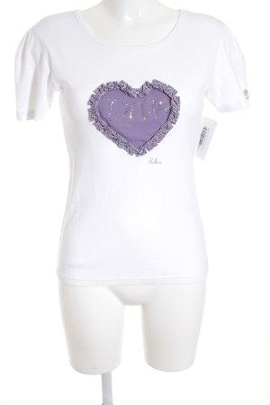 Balbina Camiseta blanco-lila letras bordadas look casual