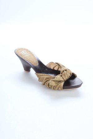Baldan Sandalias con tacón marrón oscuro-color oro estilo extravagante