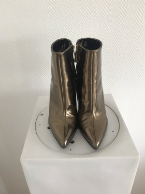 Baldinini Zipper Booties gold-colored leather