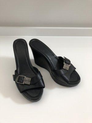 Baldinini-Designer-Pantoletten/Sandaletten-Wedges-Gr. 38-schwarz-