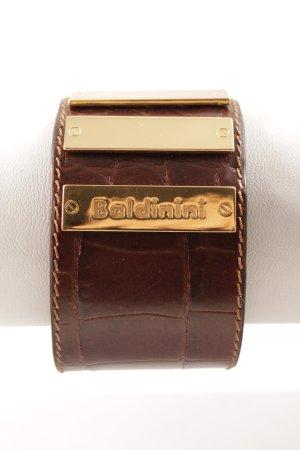 Baldinini Lederen armband goud-donkerbruin casual uitstraling