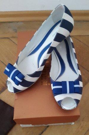 Baldinini Bailarinas con tacón con punta abierta azul-blanco
