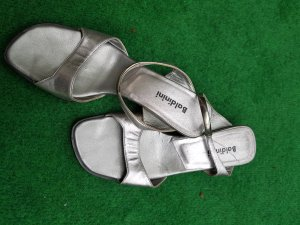 Baldinini Sandals silver-colored leather