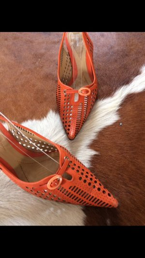Baldinini Slingbacks in Orange, plus neue farblich gleiche Handtasche geschenkt