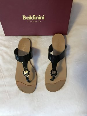 Baldinini Sandalo toe-post nero-oro Pelle