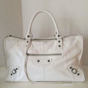 Balenciaga Bolso barrel blanco-color plata Cuero