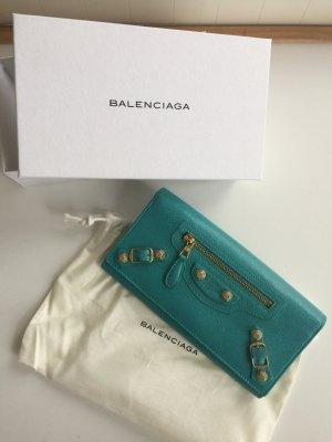 Balenciaga Giant Continental Turquoise Geldbörse