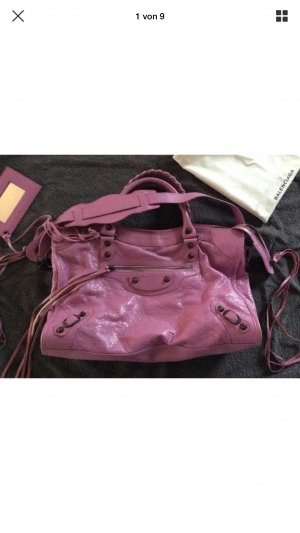 Balenciaga Carry Bag neon pink leather