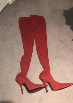 Balenciaga Botas sobre la rodilla rojo ladrillo