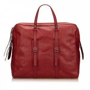 Balenciaga Weekender Bag red leather