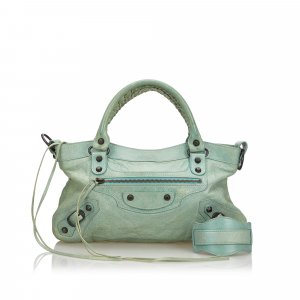 Balenciaga Satchel green leather