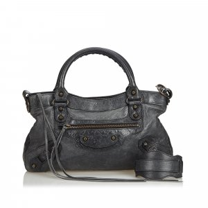 Balenciaga Satchel dark green leather