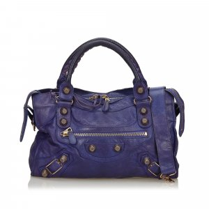 Balenciaga Satchel purple leather