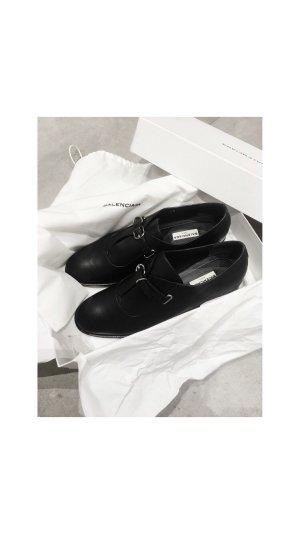 Balenciaga Leder Mokassins schwarz Schnallenschuhe Gr. 39