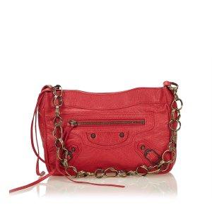 Balenciaga Bolsa de hombro rojo Cuero