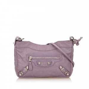 Balenciaga Shoulder Bag purple leather